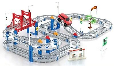 Large Track Rail Car DIY Toy Car Model Electronic Kids Toy Multilayer 73*35CM