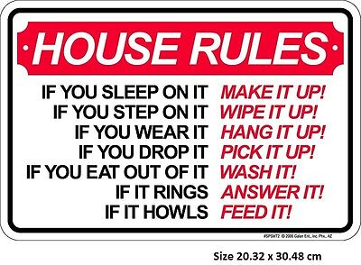 House Rules Aluminium Embossed Tin Sign