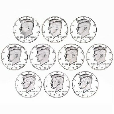 1990-1999 S Kennedy Half Dollar Gem DCam Proof Run 10 Coin Set CN-Clad US Mint