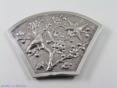ANTIQUE Hand Crafted CHINESE STERLING SILVER BIRDS & BLOOMED TREE FAN BUCKLE