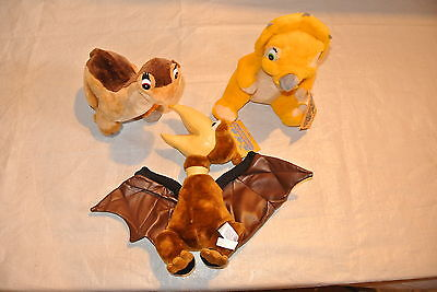"Rare Plush ""Land Before Time"" Little Foot, Cera and Petrie Dinosaurus"