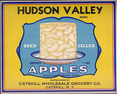 Hudson Valley Brand Apples unused label (Catskill NY)