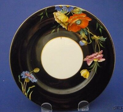 "Vintage Hand Painted Fancy Aynsley England Bone China 7"" Salad Plate Black Poppy"