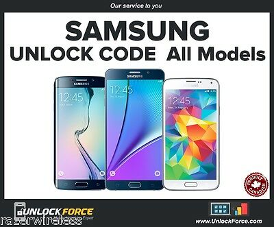 Bell Virgin Samsung Unlock Code Galaxy Note 5 4 3 S7 S6 S5 S4 S3 Core Edge Alpha