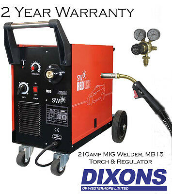 SWP Redline Mig 210 Turbo Workshop Welder 210amp Welding Machine With MIG Torch