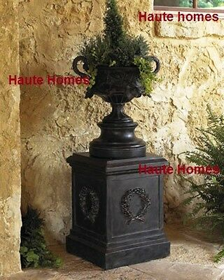 NEW Horchow LARGE Hand Crafted Leaf Urn Planter Black Outdoor Garden Patio Decor