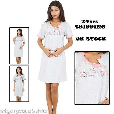 Maternity Pregnancy Breastfeeding Nursing Nightdress S M L XL UK size 8 10 12 14