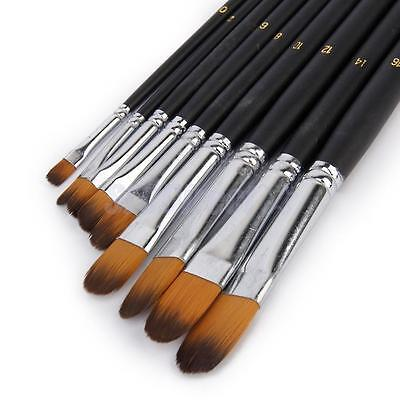 Professional 9pc Nylon Paint Brushes Set for Watercolor Acrylic Oil Painting