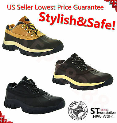 "Mens Work Boots 4"" Short Winter Snow Boots Shoes Genuine Leather Waterproof 3017"