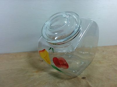 Vintage Kitchen Glass Storage Jar Apple & Pear Hand Painted design Gay Fad