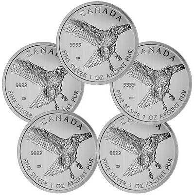 Lot of 5- 2015 Canada 1 Oz Silver Red-Tailed Hawk $5 Coin SKU34218