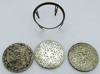 Antique/Vintage/Estate Webster Sterling Silver & Glass Coasters w/Holder 1920's
