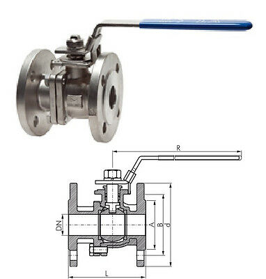 Dn100 Stainless Steel Flanged Ball Valve 2 Pcs Industrial Quality