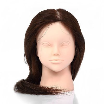 """26"""" 100% Real Human Hair Cosmetology Hairdressing Training Doll Head Mannequin"""