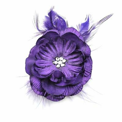 Lady Girls Satin Layered Girl Hair Clip Flat Flower with Feather Brooch Clip
