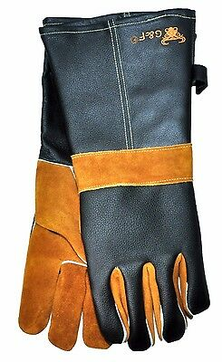 G & F 8115 15' Extra Long Suede & Grain Leather BBQ and Fireplace Gloves, 1 Pair