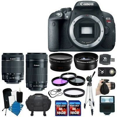Canon EOS Rebel T5i 700D SLR Camera + 4 Lens 18-55 STM & 55-250 STM + 32GB KIT