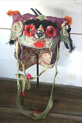 Antique Child's Chinese Hat Hand Made Embroidered Spirit Festival Dragon Foo Dog
