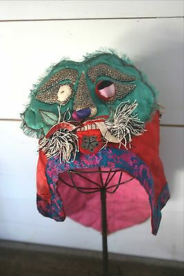 Antique Child's Chinese Hat Hand Made Embroidered Spirit Festival Dragon Lizard