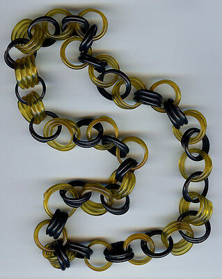 Vintage Yellow & Black Celluloid Link Chain Necklace