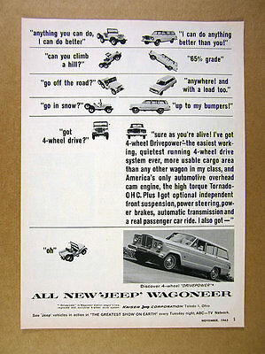 1963 Jeep Universal cj Compared to Wagoneer vintage print Ad
