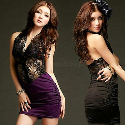 Hot Chic Women Lace Hollow Out Open Back Halter Neck Party Clubwear Mini Dress