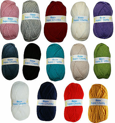 Robin Super Chunky Wool Yarn - 100g Balls - 16 Colours - P&P On 1st Ball Only