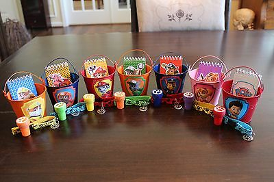 Paw Patrol Party Favor Kit- Set of 7- Tin Pails, Notepads, Stamps, Bracelet