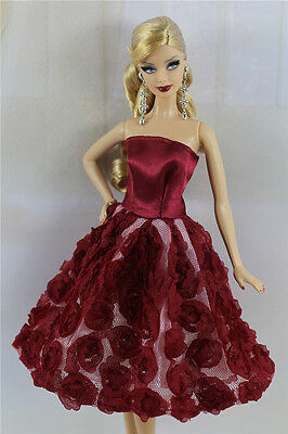 Dark Red Lovely Fashion Clothes/Outfit/Flower Dress For Barbie Doll D06U