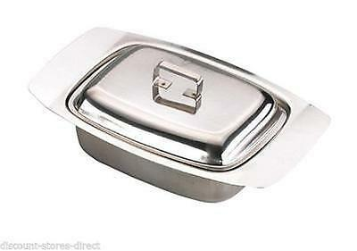 New Boxed Sunnex Stainless Steel Butter Dish Tray & Lid