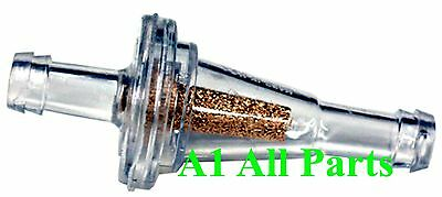 "1/4"" FUEL FILTER Slim Line MINI Clear 75 micron InLine ------------- MADE IN USA"