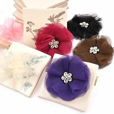 Lady Girls Lace Grenadine Flat Flower Hair Clip Wedding Party Bridal