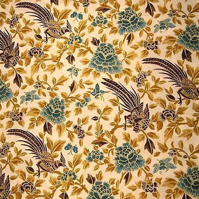 "Benu Bird Egyptian Print ""Papyrus"" by Hoffman Metallic Gold, Honey, Aqua, Cotton"