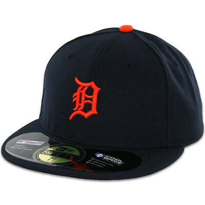 Detroit TIGERS ROAD Orange Logo New Era 59FIFTY Fitted Caps MLB On Field Hats