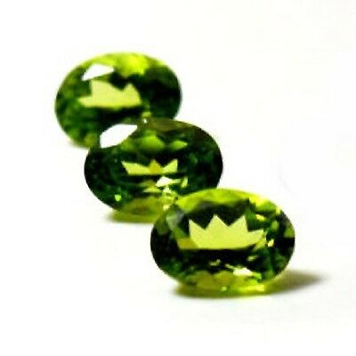 NATURAL GREEN PERIDOT LOOSE GEMSTONES (6 x 4 mm) OVAL FACETED (PAIR)
