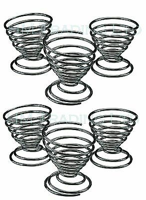 Set of 6 Chrome Plated Egg Cups Rack Stand Holder Spiral Wire
