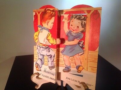 Vintage Day Valentines Litho Card 3D Fold Cowboy Girl Square Dancing Barn Corral
