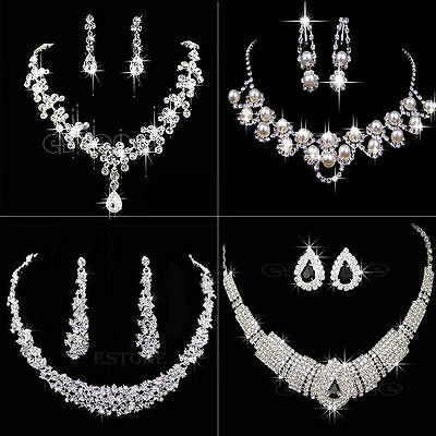 Vogue Prom Wedding Bridal Silver Jewelry Crystal Rhinestone Necklace Earring Set