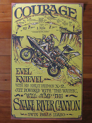 EVEL KNIEVEL VINTAGE SNAKE RIVER COURAGE POSTER - circa 1971. LAST 28 IN  STOCK