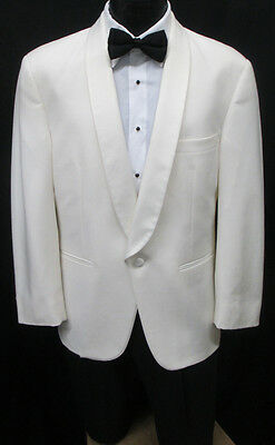 Ivory Off-White One Button Shawl Tuxedo/Dinner Jacket Formal Cruise Theater 40XL