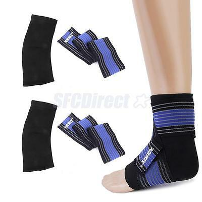 Pair Ankle Foot Elastic Compression Wrap Sleeve Bandage Brace Support Protection