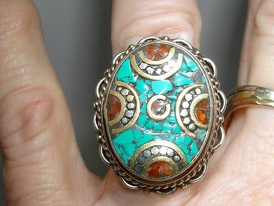 Vintage Turquoise Inlay Gold Wash Ring!  Intricate Beauty