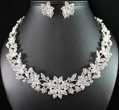 FLORAL CLEAR AUSTRIAN RHINESTONE CRYSTAL NECKLACE EARRINGS SET WED BRIDAL N1770S