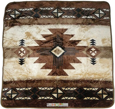 79x94 Southwest Native Indian Beige Soft Plush Faux Mink Throw Queen Blanket