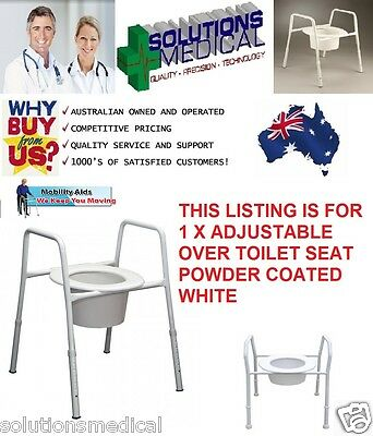 Over Toilet Seat Chair Frame Adjustable Height Splash Guard Powder Coated