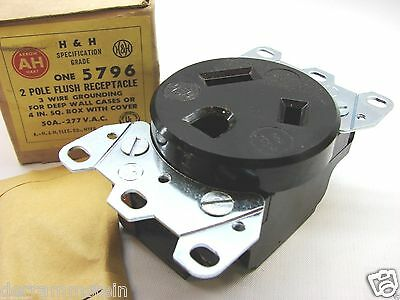 Arrow-Hart 5796 Vintage 2P/3W 277V 50A Specification Grade Receptacle 7-50R b98