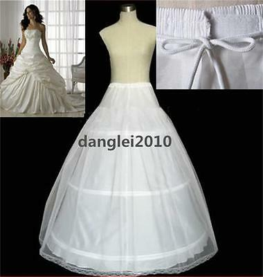 Standard Or Plus Size White A-Line 3-Hoops Wedding Bridal Petticoat Underskirt A