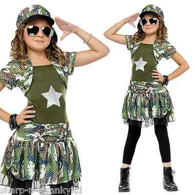 Child's Girls Army Brat Military Book Day Fancy Dress Costume Outfit 4-5-6 years