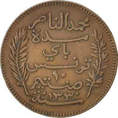[#43080] TUNISIA, 10 Centimes, 1912, Paris, KM #236, EF(40-45), Bronze, 9.68
