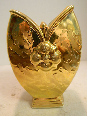 "Vintage Elynor Weeping Gold Finish Unique Shaped Vase 5.75"" x 3.75"" Very Good"